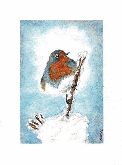Robin in Winter Watercolour Print
