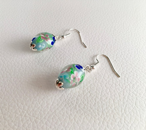 Small Floral Lamp Glass Earrings