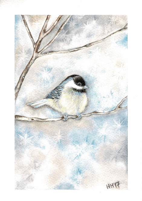 Tit in Winter Watercolour Print
