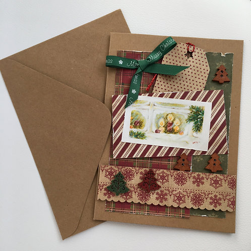 Vintage Christmas Card with Green Bow