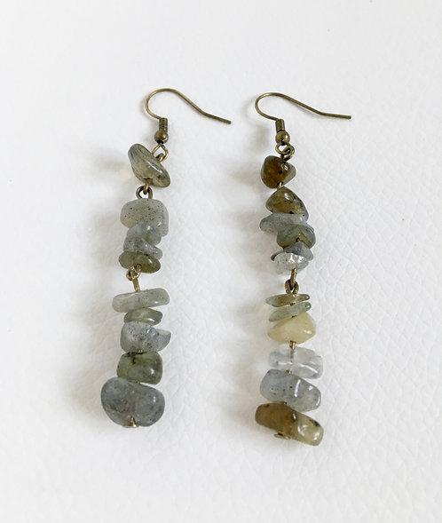 Semi-Precious Grey Labradorite Chip Bead Earrings