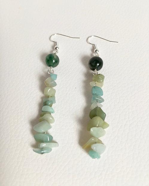 Semi-Precious Green Moss Agate and Chip Amazonite Bead Earrings