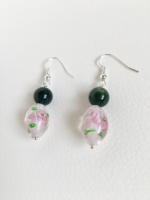 Lamp Glass & Semi-Precious Stone Green Moss Agate Earrings