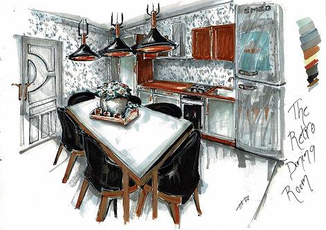 The Retro Dining Room Sketch Print
