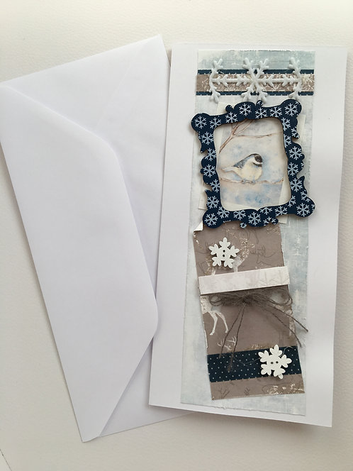 Vintage Christmas Card with 'Tit in Winter' (Navy)