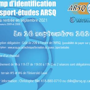 Camp d'identificationdu sport-études ARSQ
