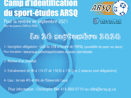 Camp d'identificationdu sport-études ARSQ