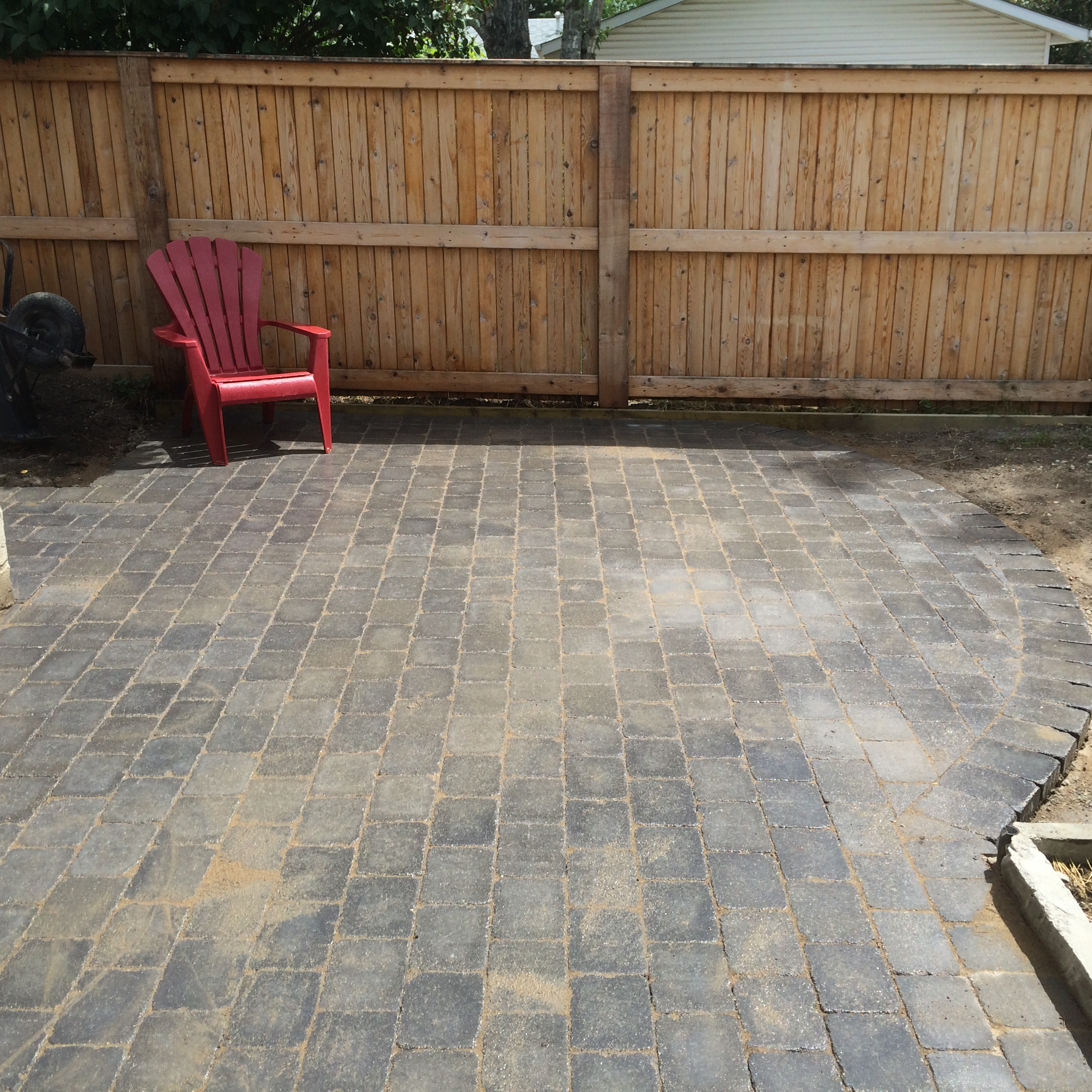 Patio ready for firepit