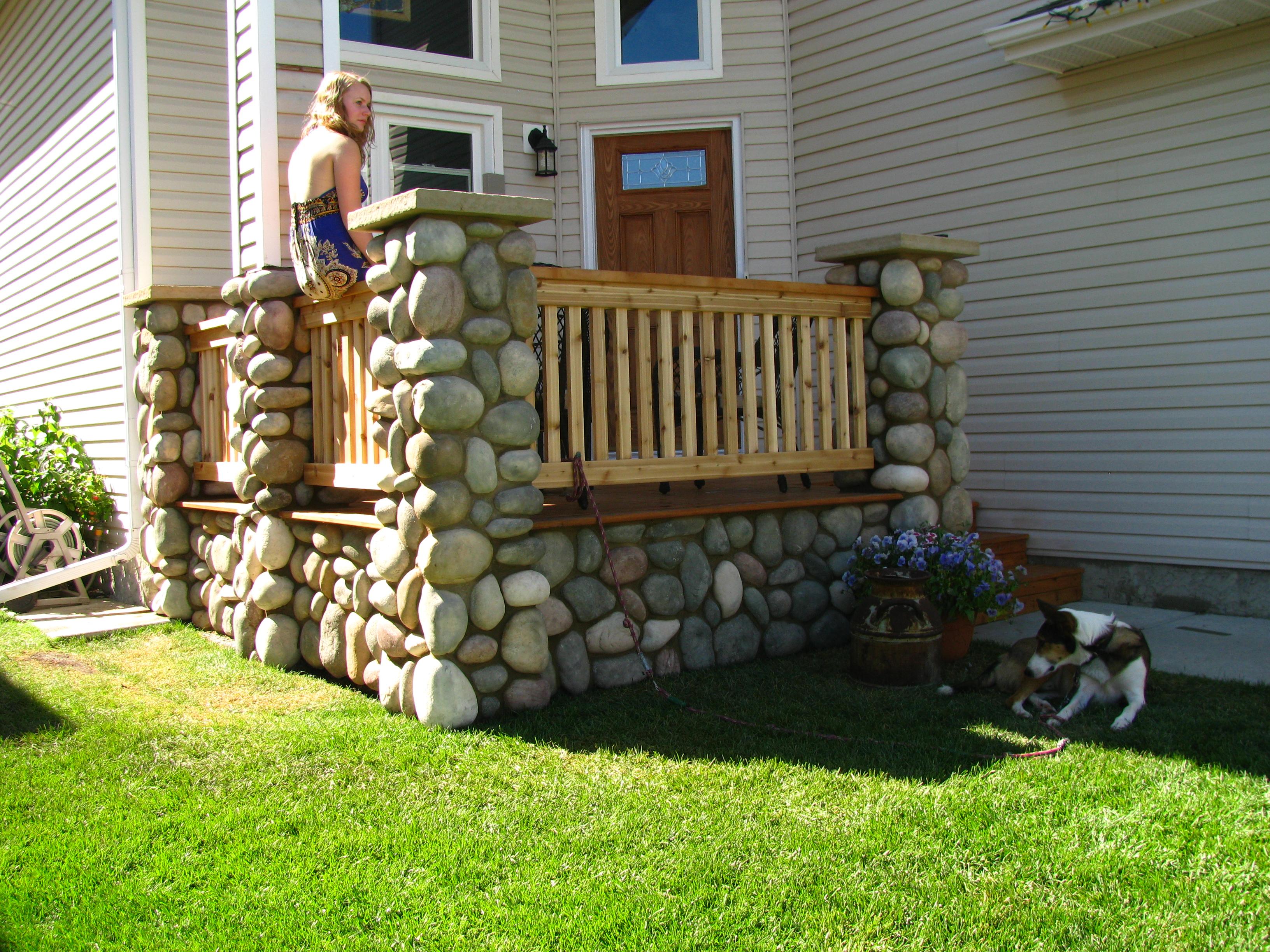 Cedar deck and stone