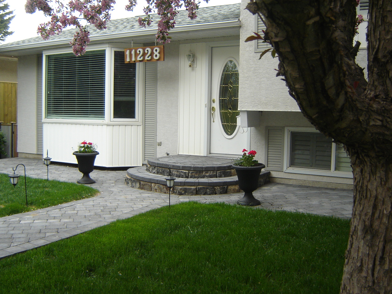 Paving stone walkway and stairs