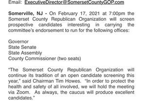 Press Release: SCRO Candidate Screening