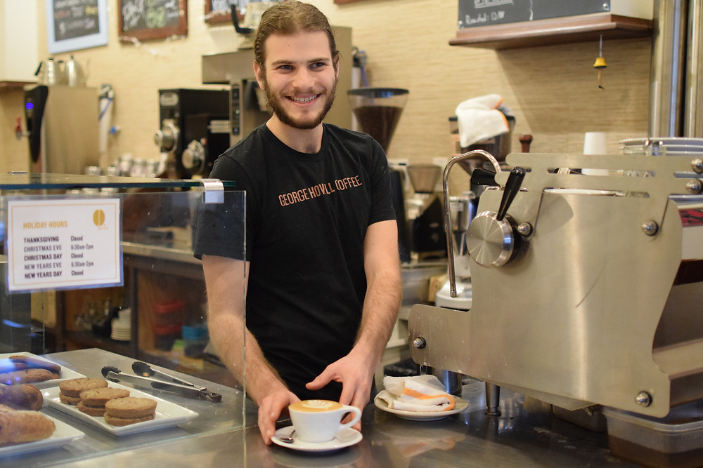 I serve a cappuccino at George Howell Coffee in Newton, Massachusetts.