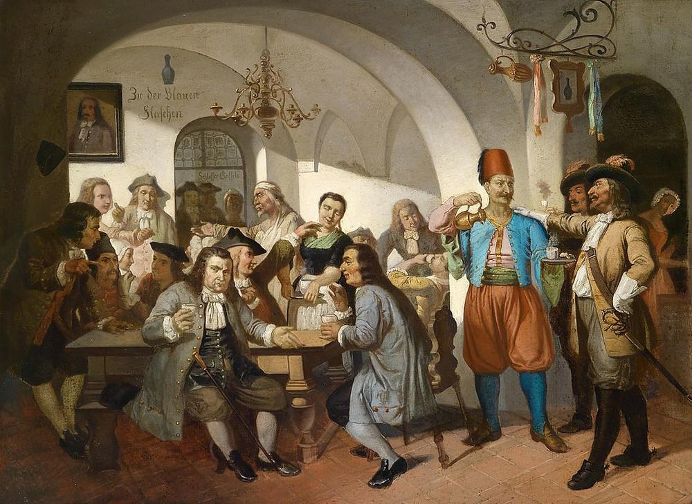 """""""Original"""" Blue Bottle Coffee Shop in Vienna, Austria 17th-18th Century"""