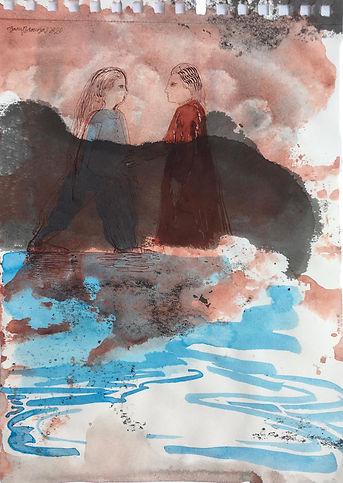 Barış Sarıbaş, Lütfen Anlat Bana, Kağıt üzeri Akrilik ve Mürekkep, 28x21cm, 2020