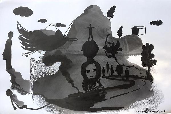 Barış Sarıbaş, Kağıt Üzeri Akrilik, 70x100cm, 2020