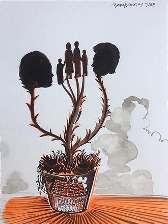 Barış Sarıbaş, Anneler Günü İçin, Kağıt Üzeri Mürekkep, 32x24cm, 2020