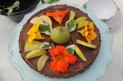Kakaotårta med krasse & äppelmynta