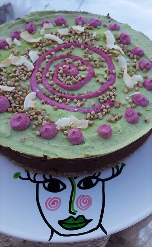 Raw Pepparmyna/Kakao tårta
