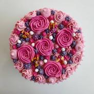 Roze bloemen taart