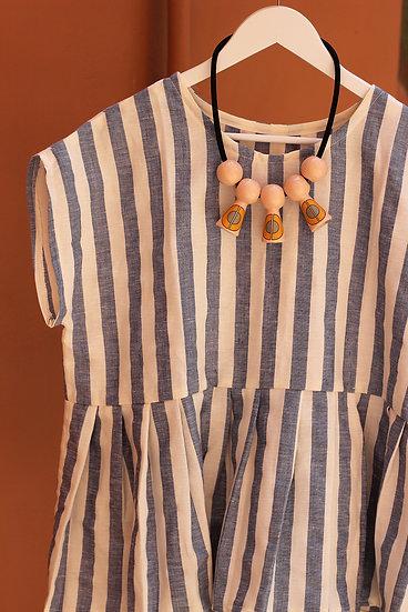 Blusa con balza - blu e bianco - lino e cotone