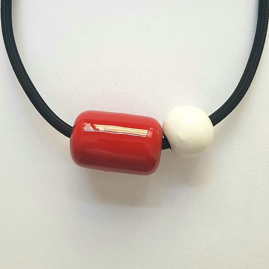 Collana Capsula in Ceramica, Rosso e Bianco, cavo elettrico