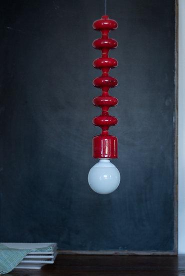 Lampada a sospensione ERIKA rossa. Ceramica smaltata, cavo elettr