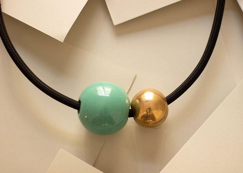 Collana due sfere, Celeste e Oro, cavo elettrico