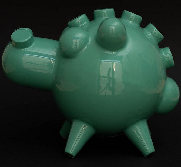 CARMELO, Salvadanaio in ceramica, verde acqua
