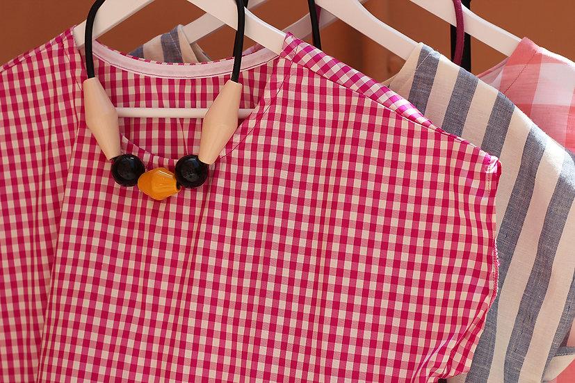 Blusa con balza in vichy di seta