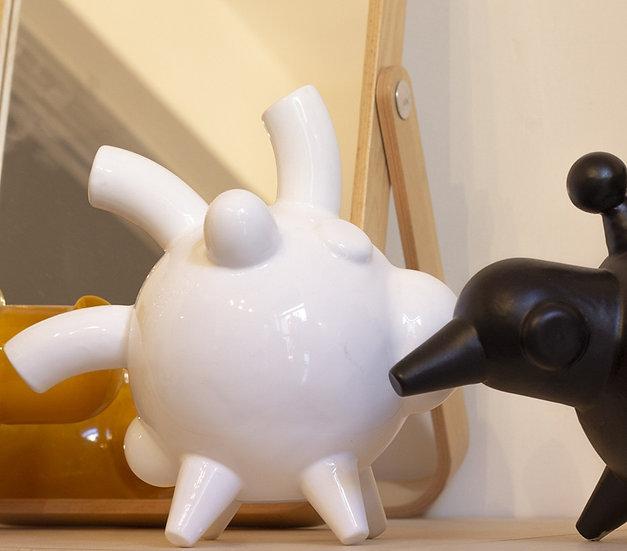 ELIO BIANCO, Salvadanaio in ceramica, bianco