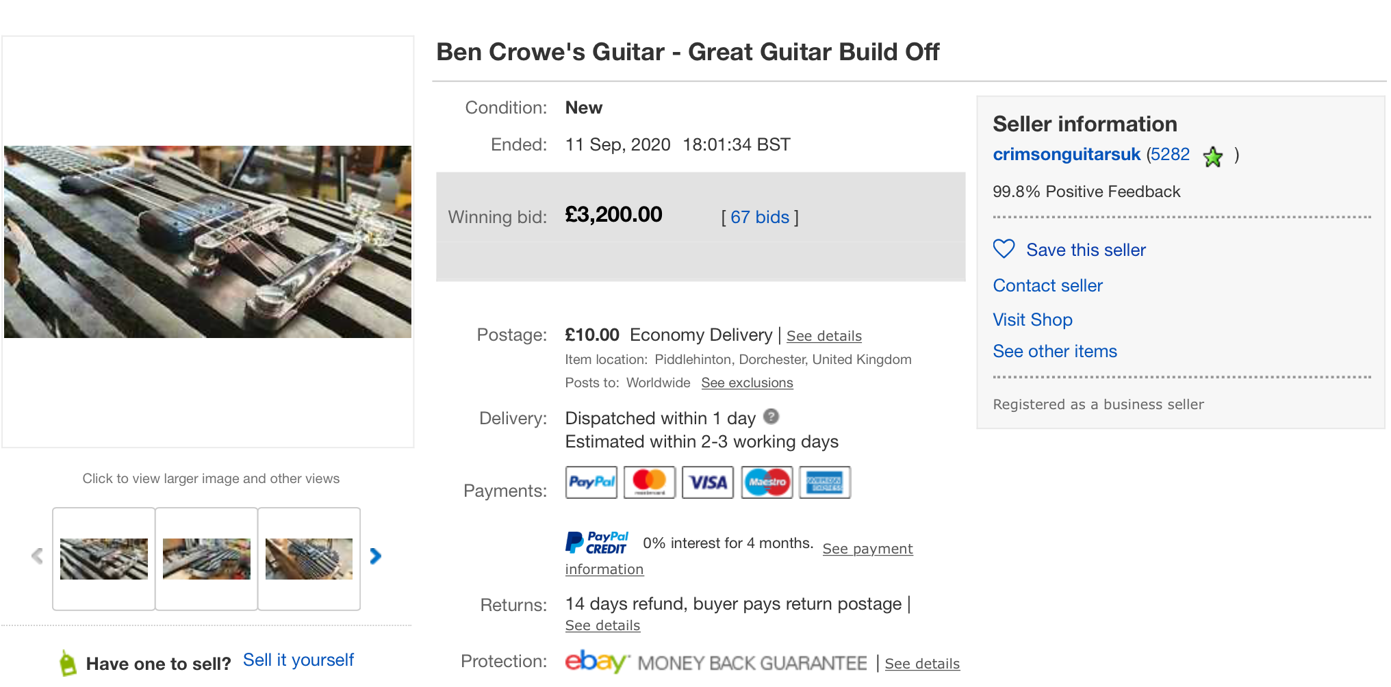 Ben Crowe Auction results 1