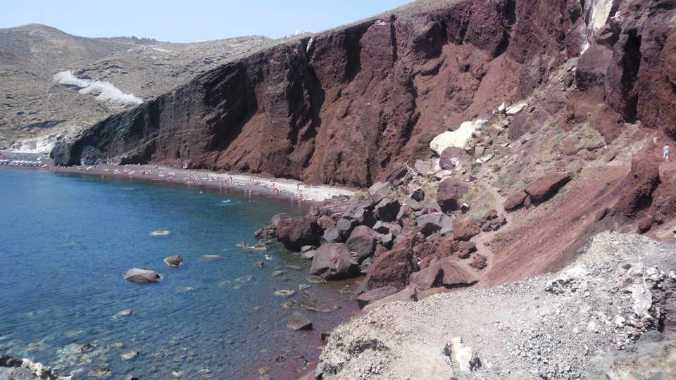 Santorini, a vörös part