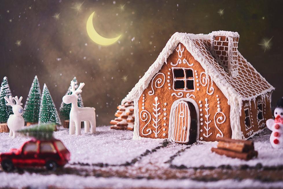 Homemade gingerbread house. Christmas co
