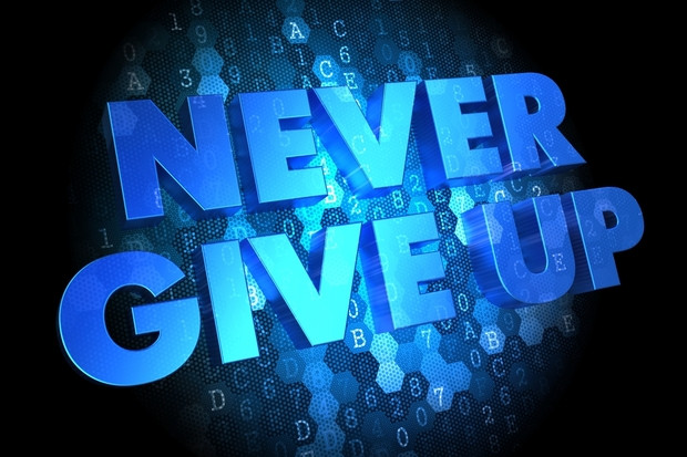 Never Give Up against cyber background