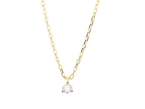 Collier solitaire or jaune et diamant FACET