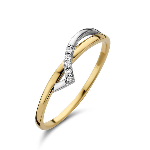 Bague bicolore or jaune/or blanc et diamants SCAL