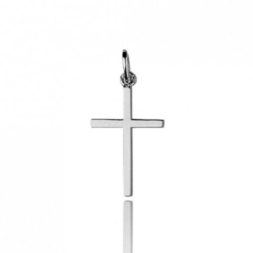 Croix classique en or blanc