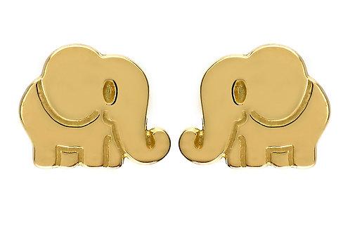 Boucles d'oreille enfant éléphants  en or jaune