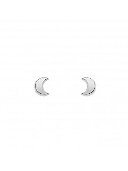 Boucles d'oreille enfant lunes en or blanc