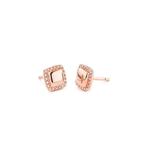 Boucles d'oreille carrées or rose et diamants Facet