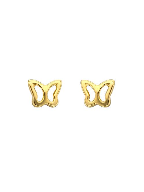 Boucles d'oreille enfant papillons en or jaune