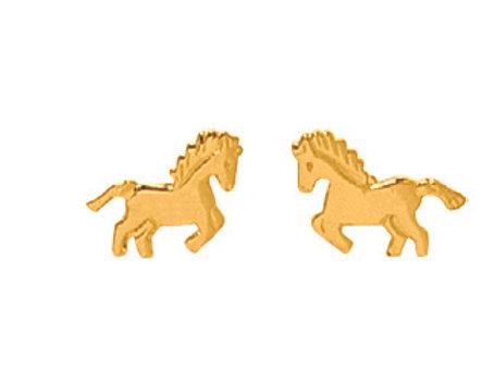 Boucles d'oreille enfant chevaux en or jaune