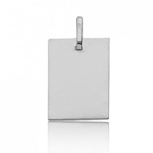 Pendentif rectangle en or blanc