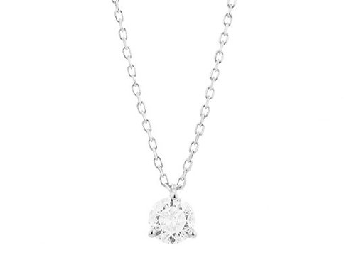 Collier solitaire or blanc et diamant FACET