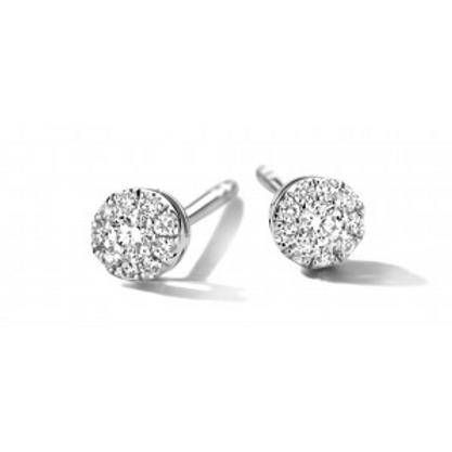 Boucles d'oreille pavé diamants or blanc Pigou
