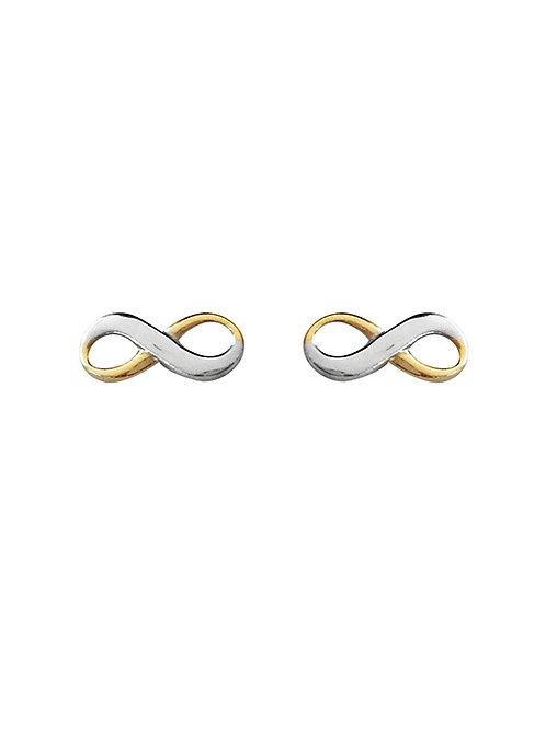 Boucles d'oreille infinis en or jaune et blanc