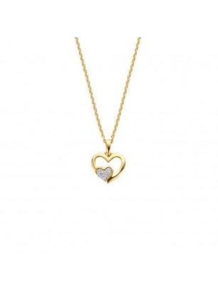 Pendentif coeur en or jaune et oxydes de zirconium
