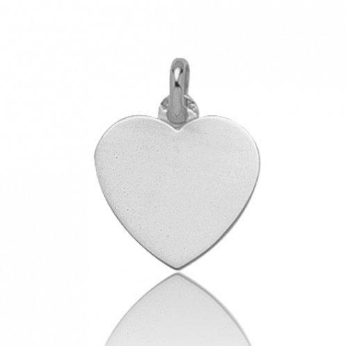 Pendentif coeur en or blanc