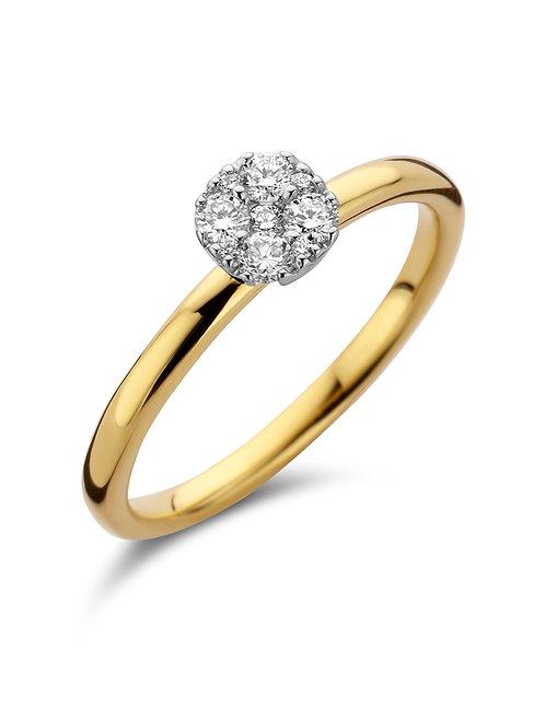 Bague bicolore or jaune/or blanc et pavé diamants SCAL