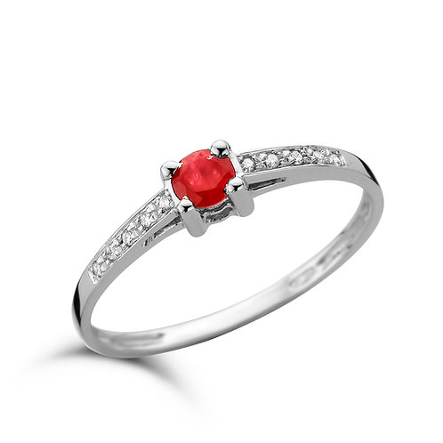 Bague or blanc, rubis et diamants SCAL
